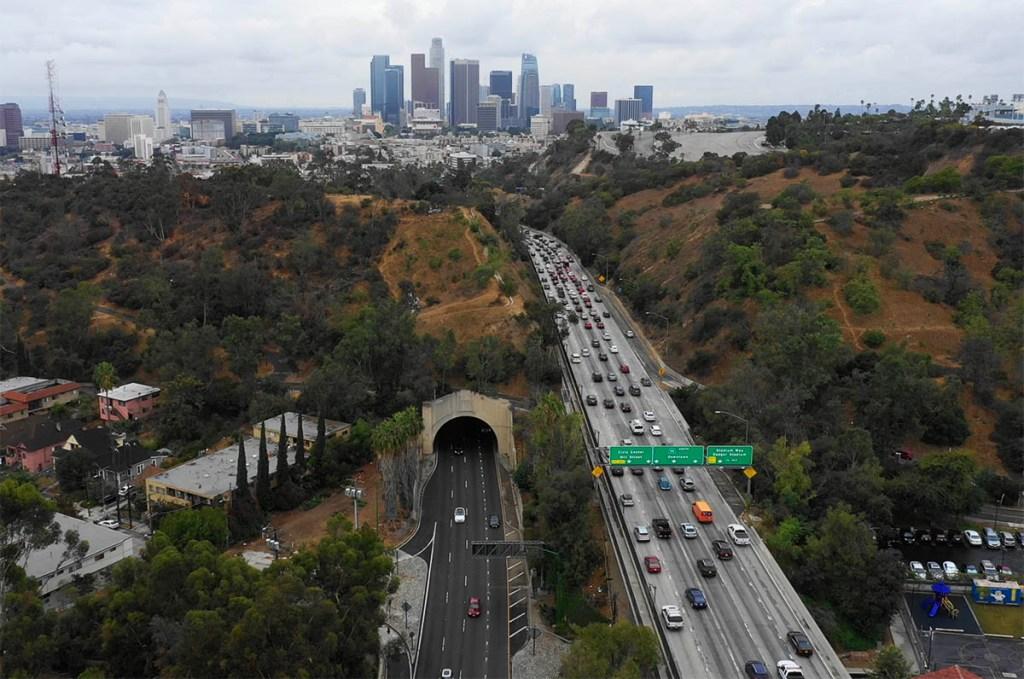 Drone shot of rush-hour traffic over Los Angeles. Credit: Erik Olsen